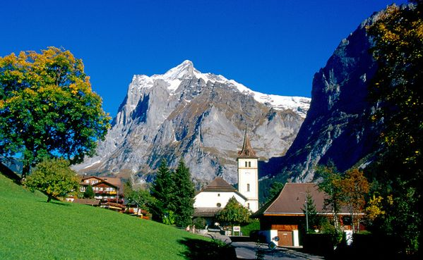Sunday evening service in the reformed church Grindelwald